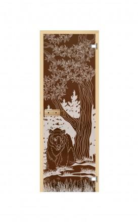 Дверь для бани и сауны стеклянная Медведь