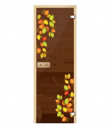 Стеклянная дверь для бани Осенью