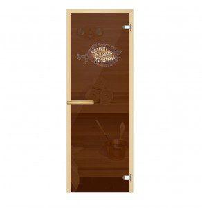 Стеклянная дверь для бани Веник-хозяин