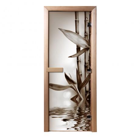 Дверь из стекла с фотопечатью Бамбук