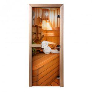 Дверь из стекла с фотопечатью В бане