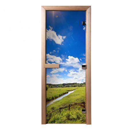 Дверь из стекла с фотопечатью Родные просторы