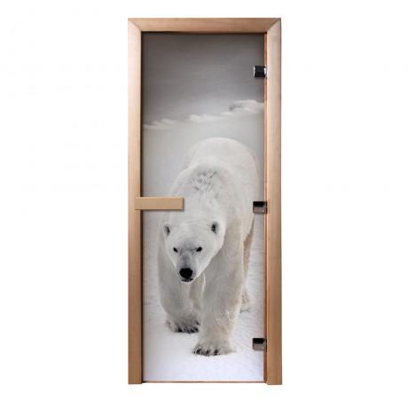 Дверь из стекла с фотопечатью Белый медведь
