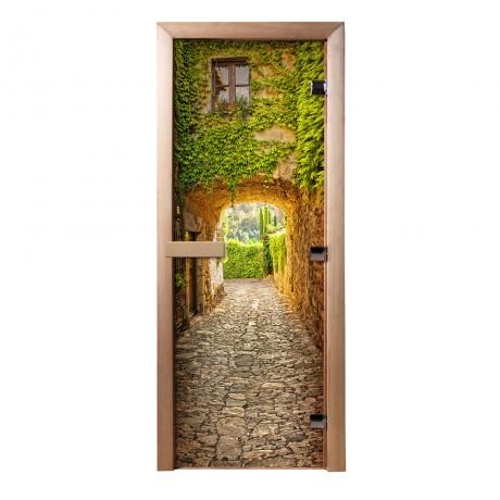 Дверь из стекла с фотопечатью Прованс