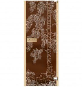 Дверь для бани и сауны стеклянная Дерево с водой