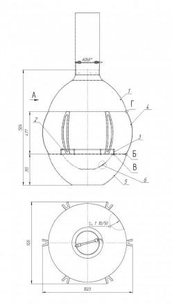 Подвесной камин на дровах Loft – 04