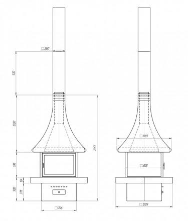 Островной камин на дровах Loft – 06
