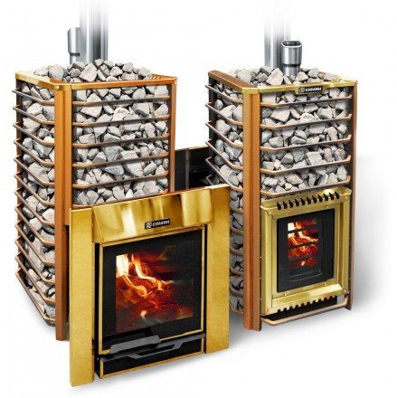 Банная печка на дровах «Ермак 24 Сетка – Люкс Gold» (НС)