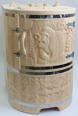 Phytobarrel cedar barrel semi reclining lux 2 Фитобочка (кедровая бочка) полулежачая ЛЮКС 115*78*140*4 см резная