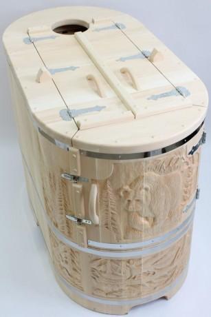 Phytobarrel cedar barrel semi reclining lux 3 Фитобочка (кедровая бочка) полулежачая ЛЮКС 115*78*140*4 см резная