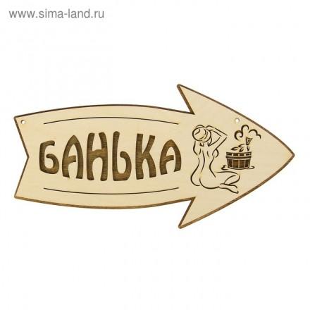 Стрелка с надписью «Банька» - 30*15 см (левая – правая).