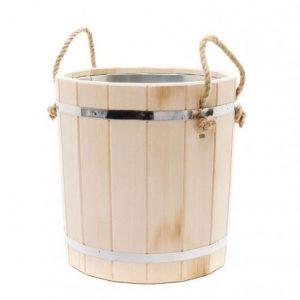 Линден ваннаға арналған шелек - 15 литр (мырышталған кірістіру)