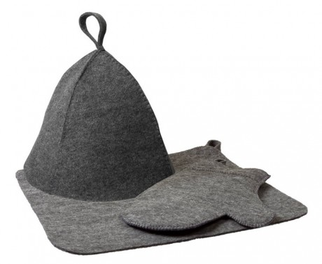 Набор из трех предметов (шапка, коврик, рукавица) серый - Hot Pot