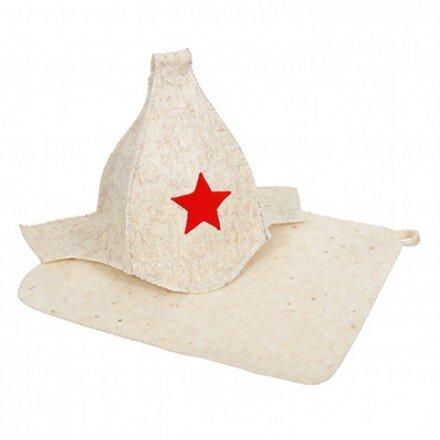Набор из 2-х предметов (шапка Буденовка, коврик белый) Hot Pot