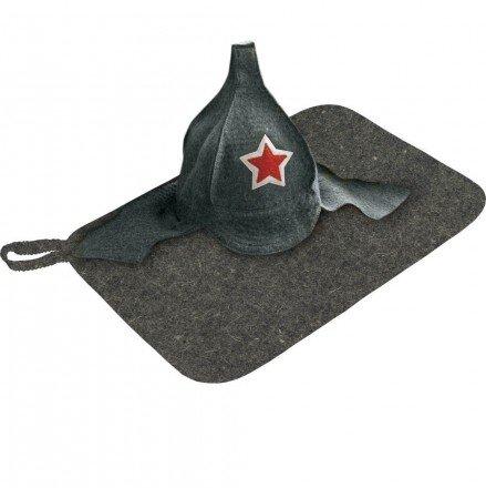 Набор из 2-х предметов ( коврик в сером цвете и шапка Буденовка) Hot Pot