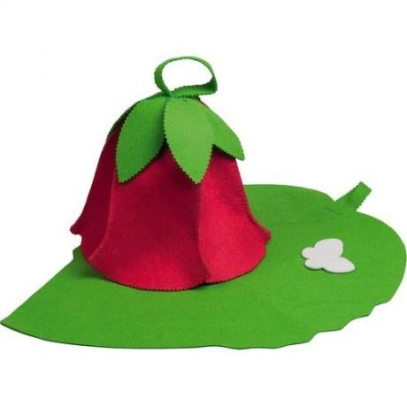 Набор из 2-х предметов (шапка Дюймовочка, коврик зеленый лист)