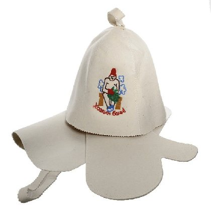 Набор из трех предметов (шапка Хозяин бани, рукавица, коврик)