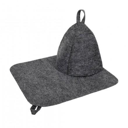 Набор из двух предметов (шапка и коврик) в сером цвете