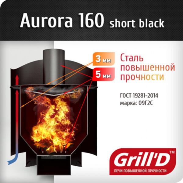 на дровах Aurora 160 short GrillD 5 Дровяная банная печь Grill'D Aurora 160 short