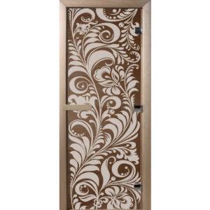 Дверь «Luxury» - Золотая Хохлома – Бронза (190*70)