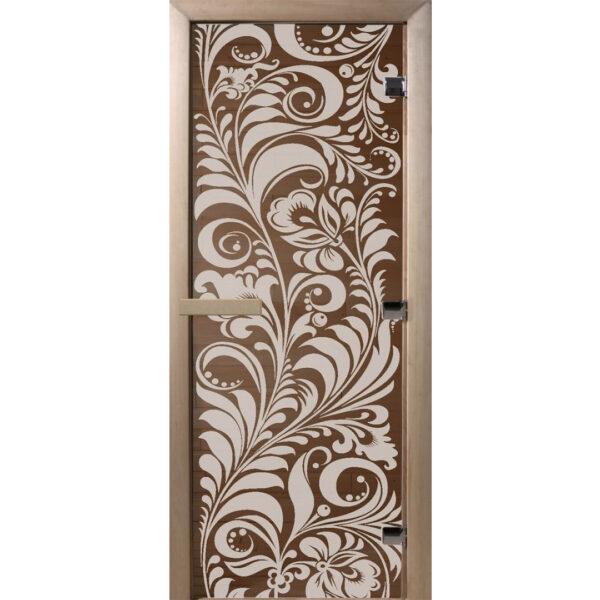 ДВЕРЬ ДЛЯ БАНИ ЗОЛОТАЯ ХОХЛОМА Дверь «Luxury» - Золотая Хохлома – Бронза (190*70)
