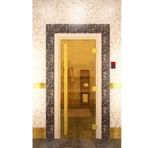 """Стекялянная дверь для бани """"Престиж"""" - золотая (190*70)"""