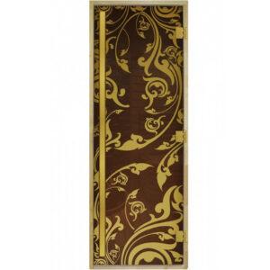 Стеклянная дверь для бани «Luxury» - Золотая Венеция – Бронза (190*70)