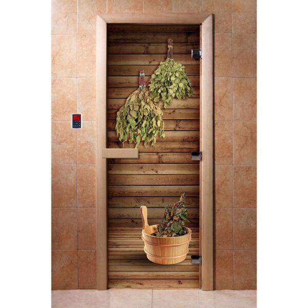 ДВЕРЬ С ФОТОПЕЧАТЬЮ DOORWOOD Стеклянная Дверь для бани с Фотопечатью (190*70)