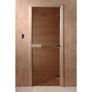 """Стеклянная дверь для бани """"Теплый день"""" 180*70"""