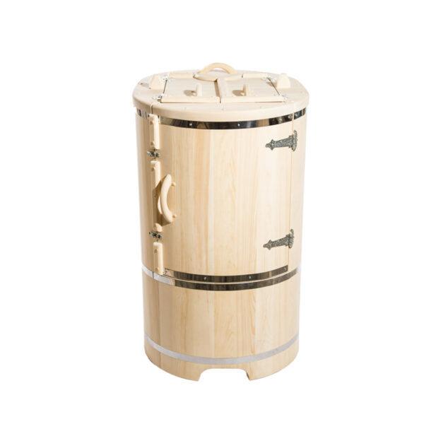 бочка овальная со скошенной крышкой 1 Овальная кедровая бочка со скошенной крышей 130*78 – 100*4 см