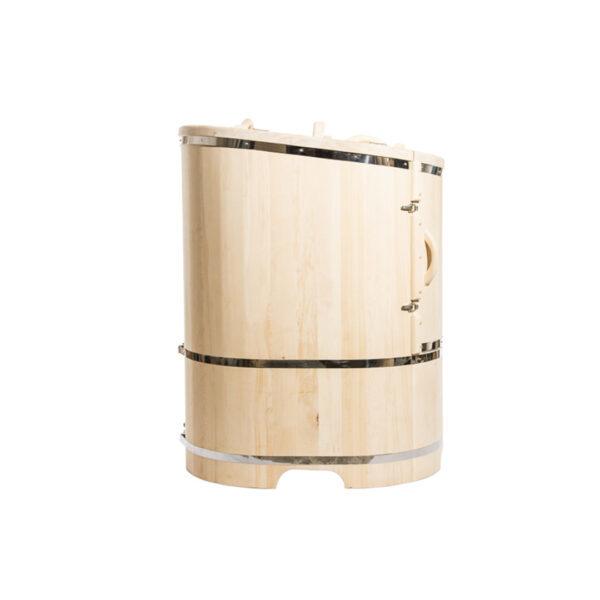 бочка овальная со скошенной крышкой 4 Овальная кедровая бочка со скошенной крышей 130*78 – 100*4 см