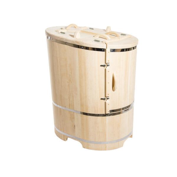 бочка овальная со скошенной крышкой 55 Овальная кедровая бочка со скошенной крышей 130*78 – 100*4 см